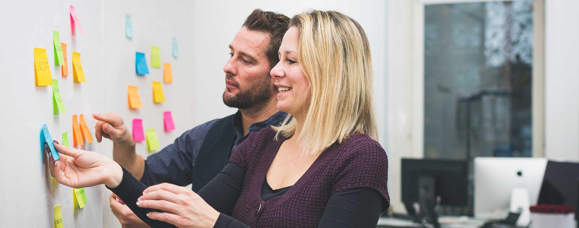 Nikolas Niehardt und Marina Scharenberg bei der Arbeit